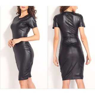 Vinyl Bodycon Wetlook Kleid Midikleid Damen Kleid Abendkleid Cocktailkleid MD127